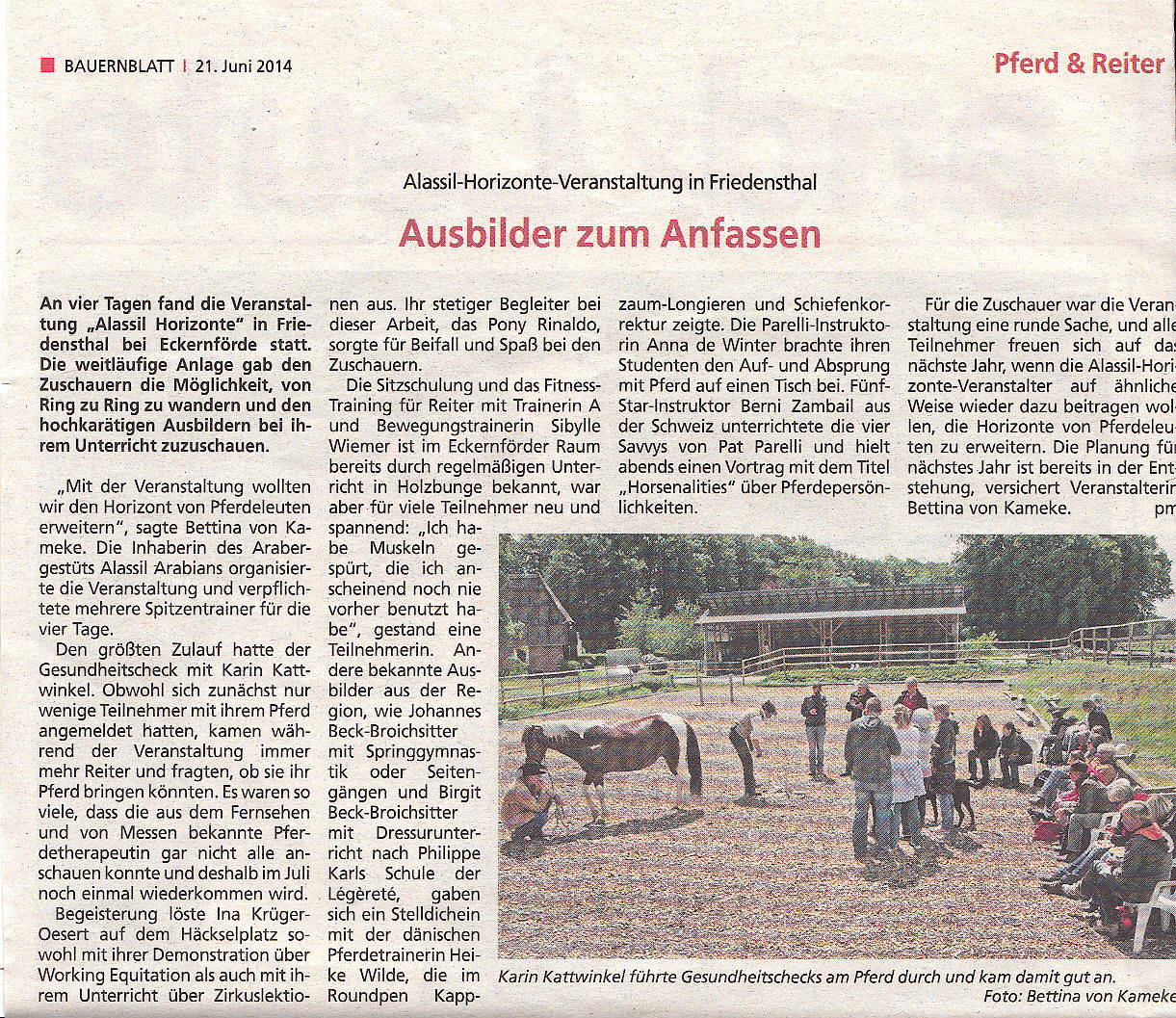 Horizonte Bericht Bauernblatt